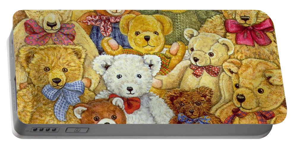 Teddy Bear; Bow; Teddies Portable Battery Charger featuring the painting Ted Patch by Ditz