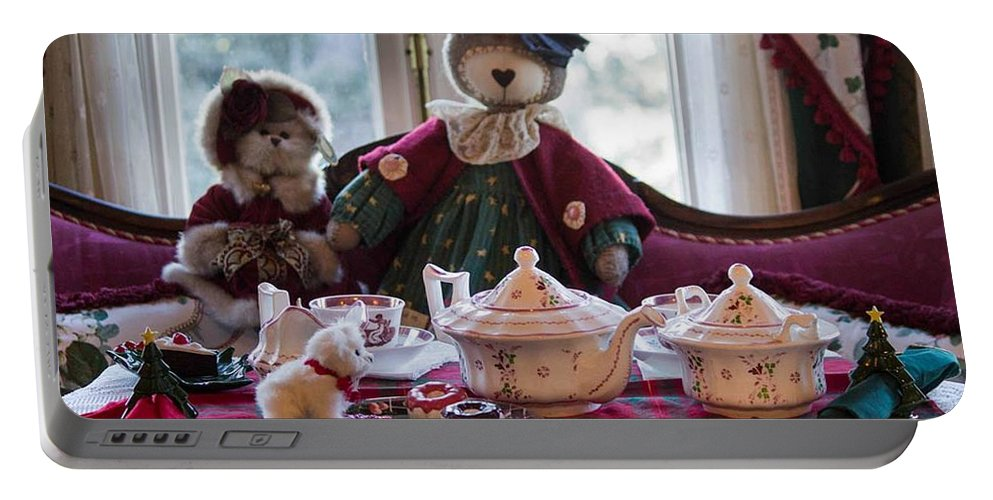 Teddy Bear Portable Battery Charger featuring the photograph Teddy Bear Tea Party by Patricia Babbitt