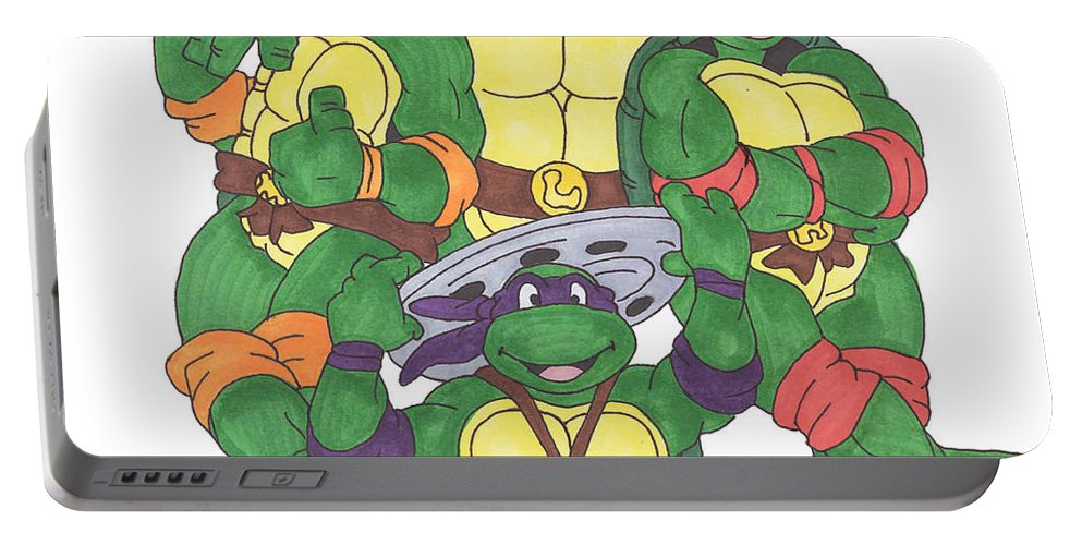 Fanart Portable Battery Charger featuring the painting Teenage Mutant Ninja Turtles by Yael Rosen
