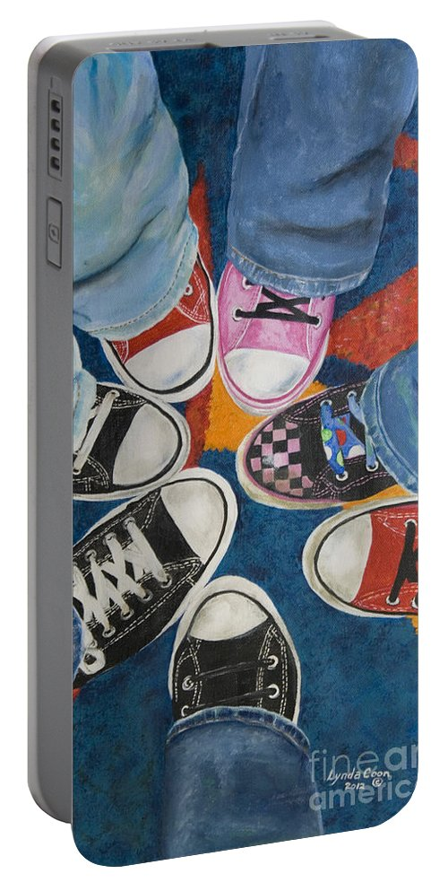 Acrylic Painting Portable Battery Charger featuring the painting Teens In Converse Tennies by Lynda Coon