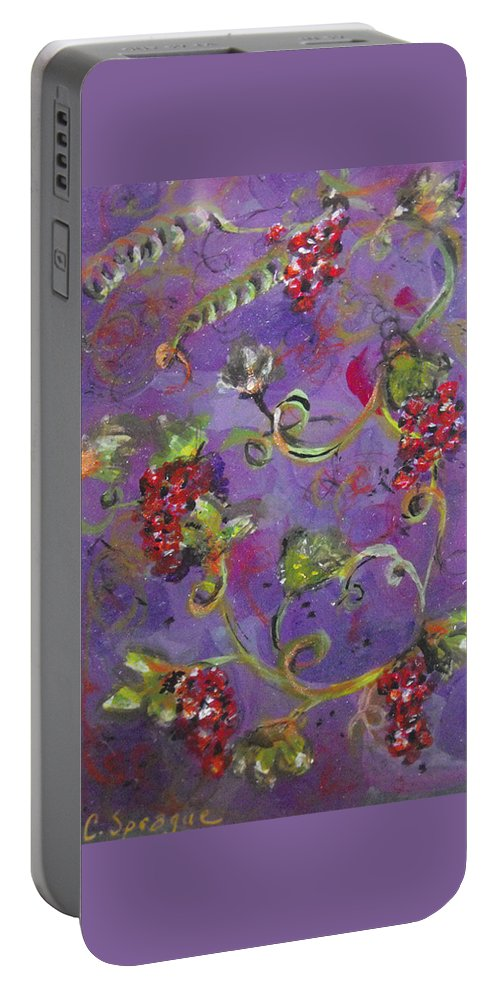 Grapes Portable Battery Charger featuring the painting Teeny Tiny Pinot Party by Catherine Sprague