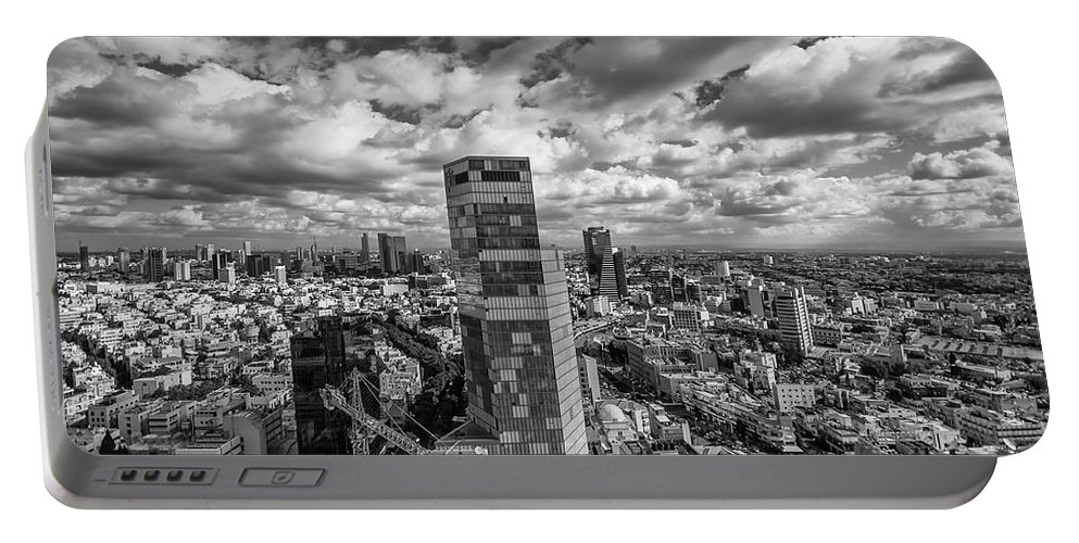 Israel Portable Battery Charger featuring the photograph Tel Aviv High And Above by Ron Shoshani