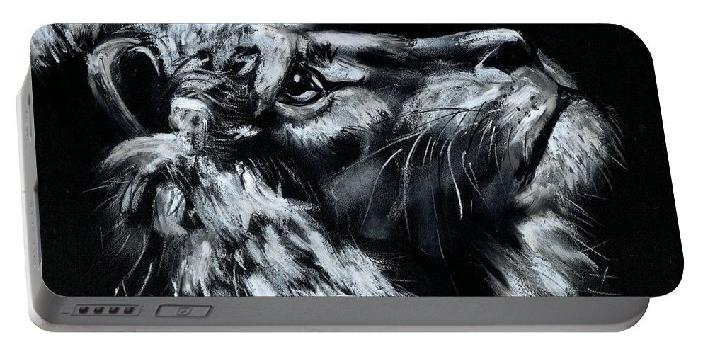 Lion Portable Battery Charger featuring the photograph Tell Me When the Wait is OVER by Artist RiA
