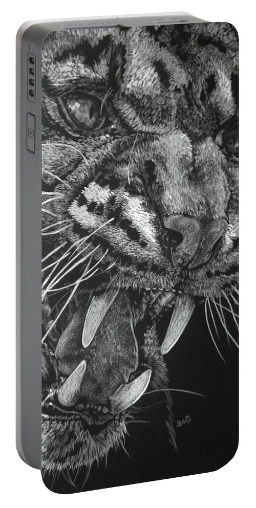 Clouded Leopard Portable Battery Charger featuring the mixed media Temper by Barbara Keith