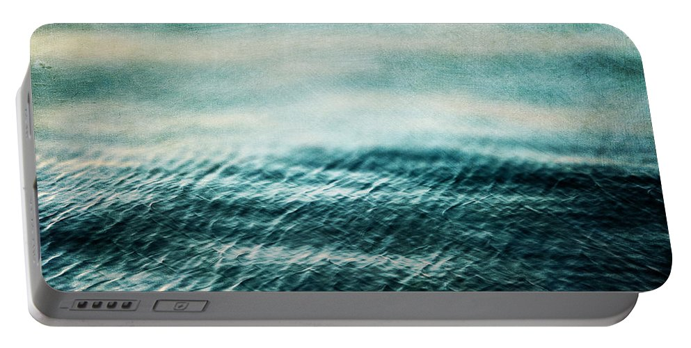 Ocean Portable Battery Charger featuring the photograph Tempest Ocean Landscape In Shades Of Teal by Lisa Russo