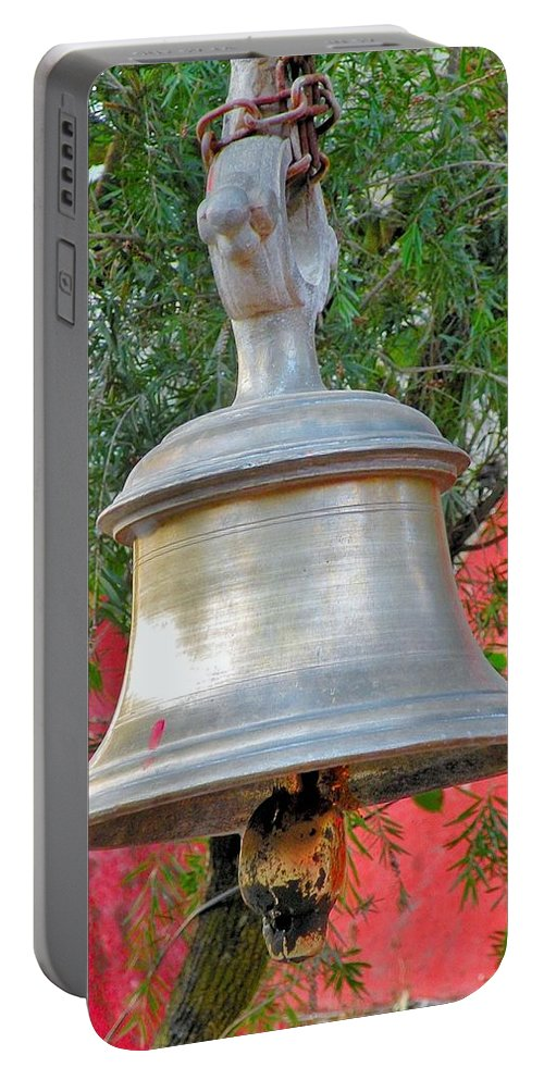 Bell Portable Battery Charger featuring the photograph Beautiful Temple Bell At Vishwanath - Himalayas India by Kim Bemis
