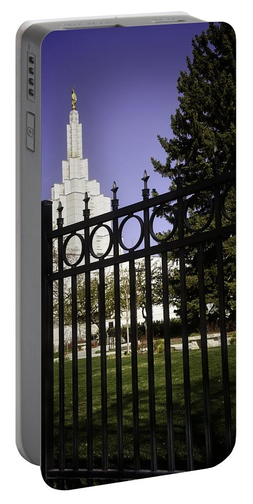 Idaho Falls Portable Battery Charger featuring the photograph Temple Of Idaho Falls by Image Takers Photography LLC - Carol Haddon
