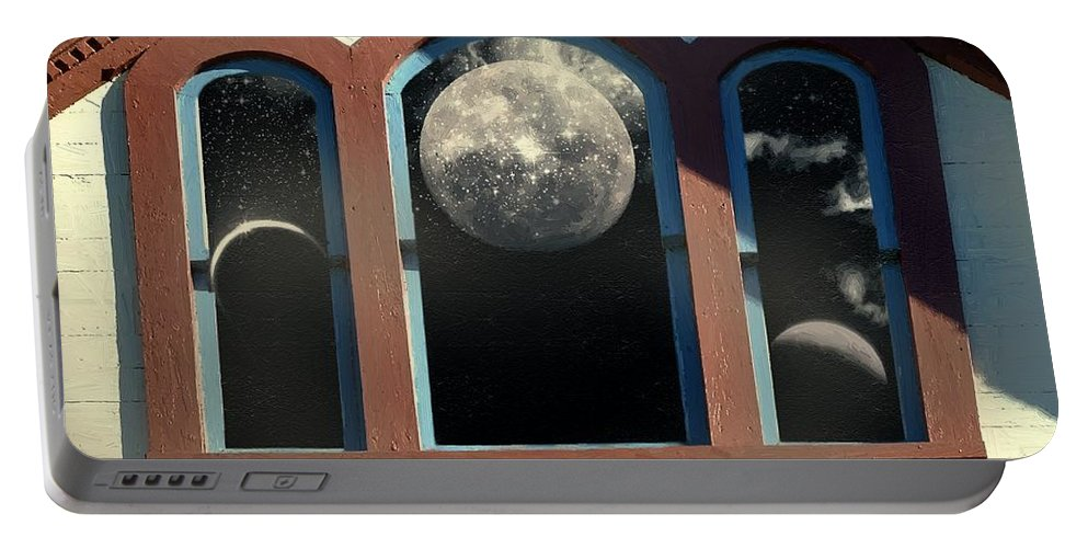 Moon Portable Battery Charger featuring the painting Temple Of The Goddess by RC DeWinter