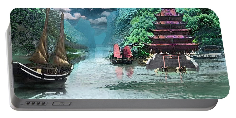 Landscape Portable Battery Charger featuring the digital art Temple on the Yangzte by Steve Karol