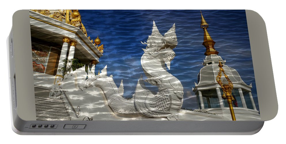 Reflection Portable Battery Charger featuring the photograph Temple Reflection by Ian Gledhill
