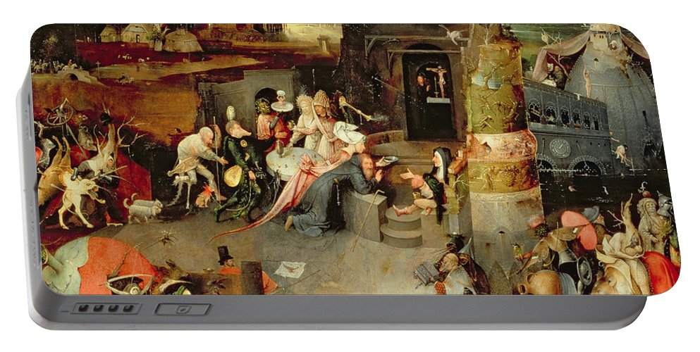 Hieronymus Bosch Portable Battery Charger featuring the painting Temptation Of Saint Anthony Centre Panel Detail by Hieronymus Bosch