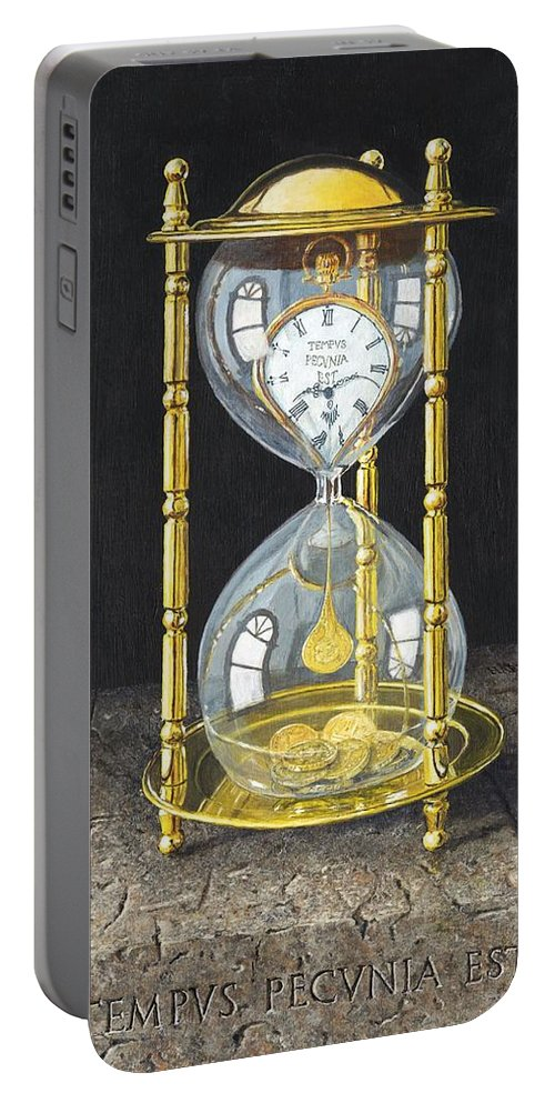 Still Life Portable Battery Charger featuring the painting Tempus Pecunia Est by Richard Harpum