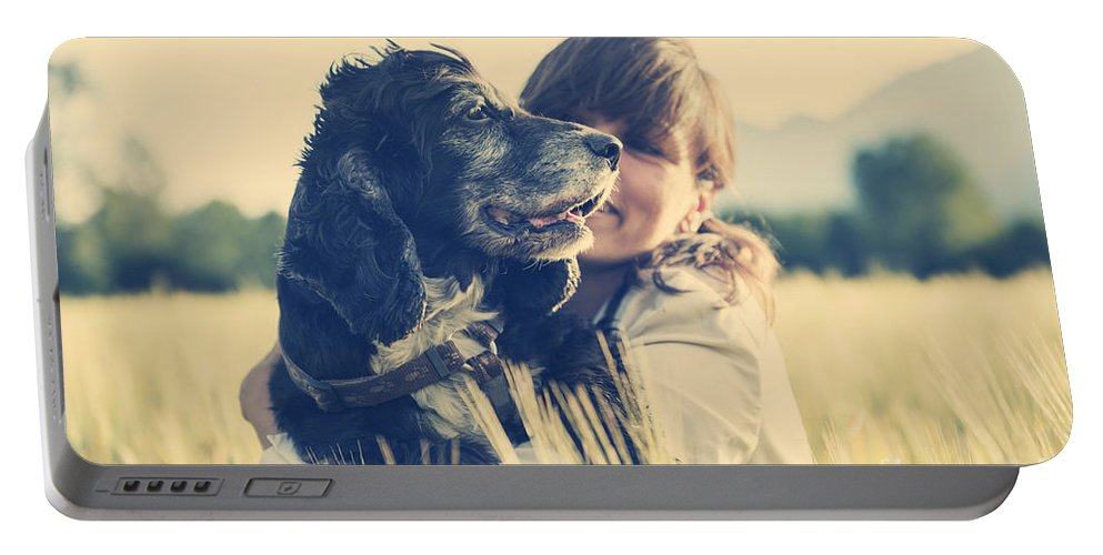 Woman Portable Battery Charger featuring the photograph Tenderness by Mats Silvan