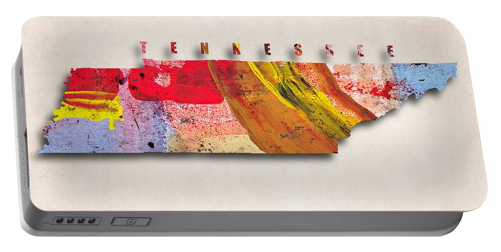 Tennessee Portable Battery Charger featuring the digital art Tennessee Map Art - Painted Map Of Tennessee by World Art Prints And Designs