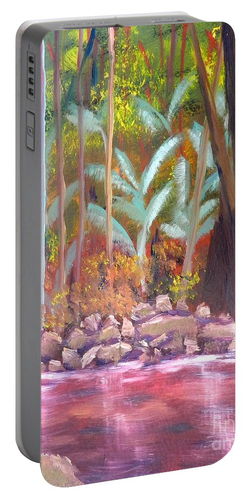 Impressionism Portable Battery Charger featuring the painting Terania Creek by Pamela Meredith