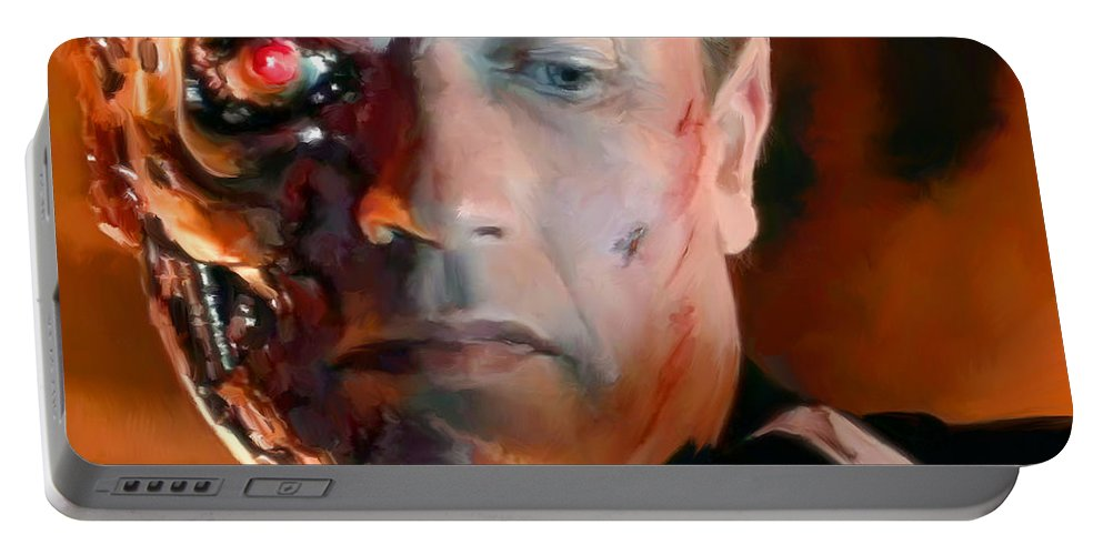 T-800 Portable Battery Charger featuring the painting Terminator by Paul Tagliamonte