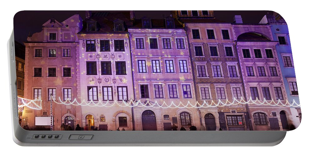 Apartment Portable Battery Charger featuring the photograph Terraced Historic Houses At Night In Warsaw by Artur Bogacki