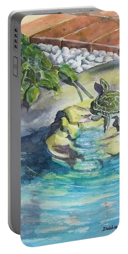 Turtle Portable Battery Charger featuring the painting Terrific Turtle by Debbie Lewis