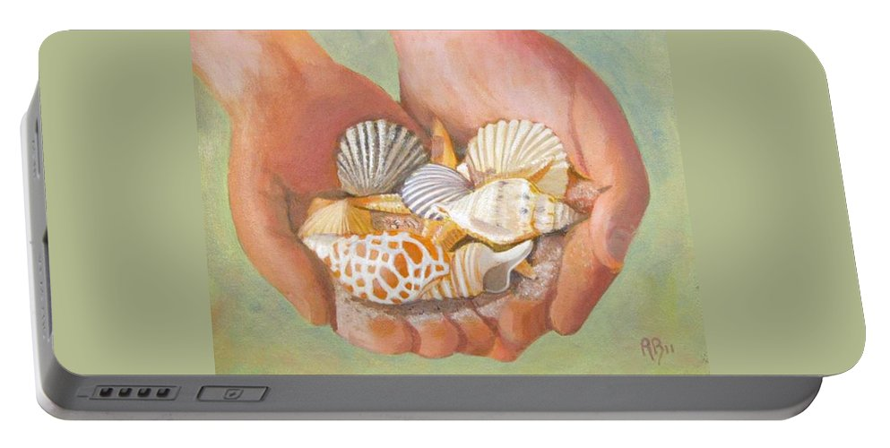 Seashells Portable Battery Charger featuring the painting Tesori Del Mare - Treasures Of The Sea by Robie Benve