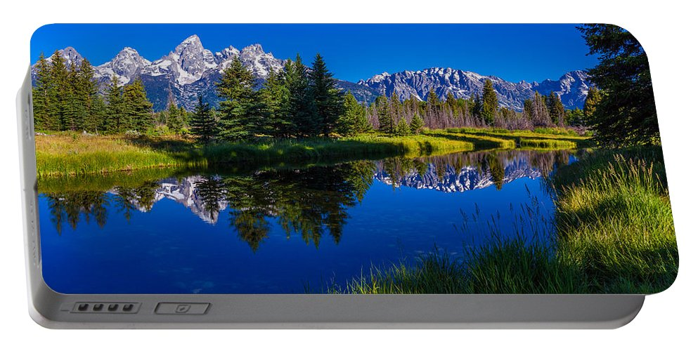 Teton Reflection Portable Battery Charger featuring the photograph Teton Reflection by Chad Dutson