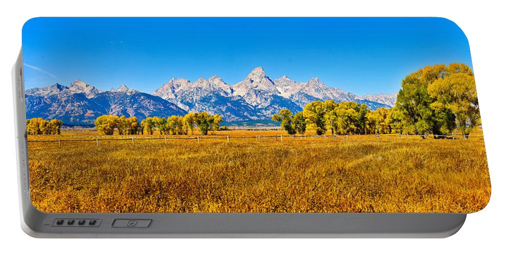 Teton Panorama Portable Battery Charger featuring the photograph Tetons Autumn Panorama by Greg Norrell