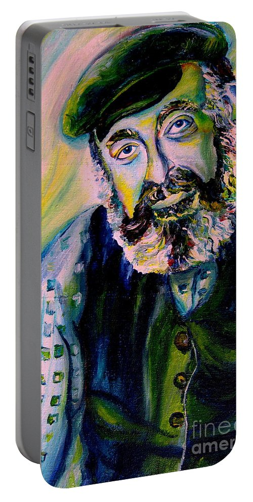 Tevye Fiddler On The Roof Portable Battery Charger featuring the painting Tevye Fiddler On The Roof by Carole Spandau