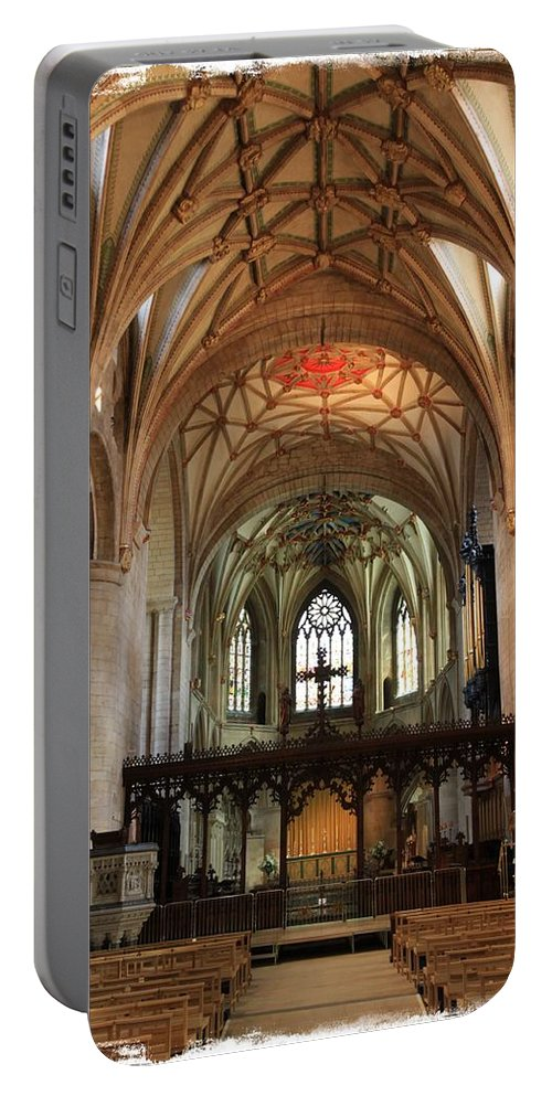 Abbey Portable Battery Charger featuring the photograph Tewkesbury Abbey by Stephen Stookey