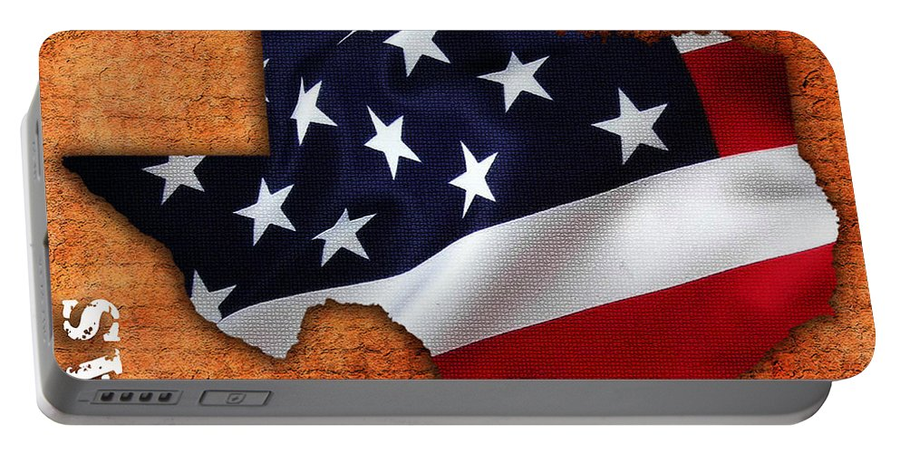 Texas Digital Art Portable Battery Charger featuring the mixed media Texas American Flag Map by Marvin Blaine