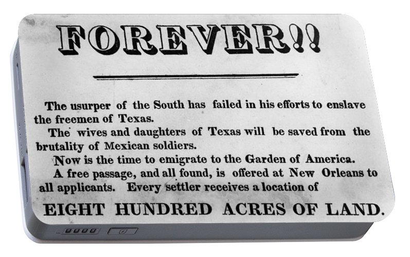 1836 Portable Battery Charger featuring the painting Texas Broadside, 1836 by Granger