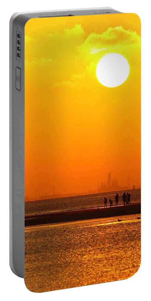 Texas City Portable Battery Charger featuring the photograph Texas City Sunset 2am-12561 by Andrew McInnes