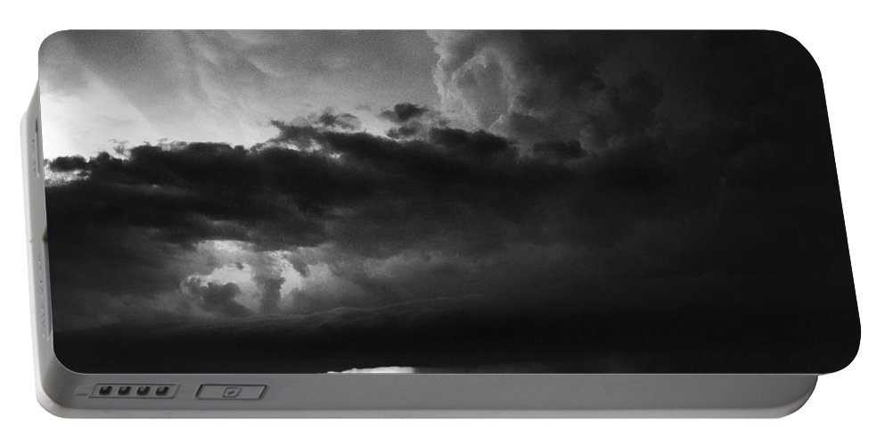 Texas Portable Battery Charger featuring the photograph Texas Panhandle Supercell - Black And White by Jason Politte