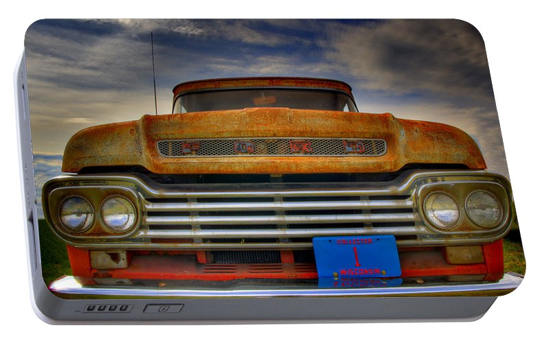 F-100 Ford Truck Portable Battery Charger featuring the photograph Textured Ford Truck 1 by Thomas Young