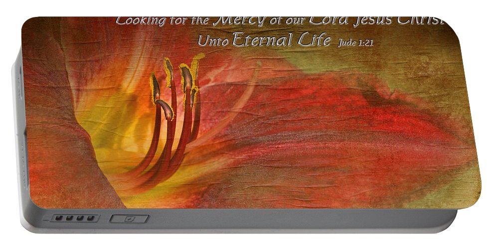 Nature Portable Battery Charger featuring the photograph Textured Red Daylily With Verse by Debbie Portwood