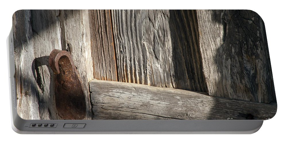 Mission San Jose San Antonio Texas Wooden Door Wood Doors Texture Textures Metal Iron Handle Handles Missions Light And Shadow Shadows Architecture Portable Battery Charger featuring the photograph Textures And Shadows by Bob Phillips