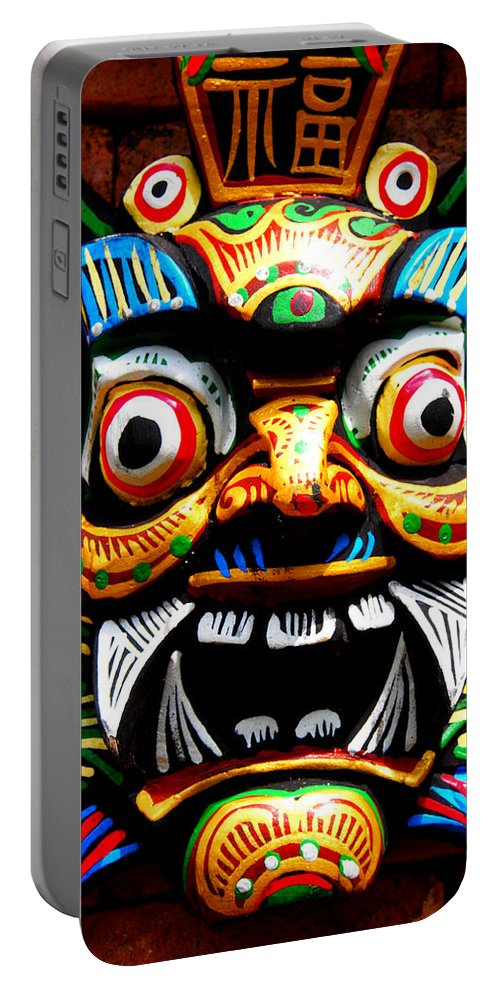 Mask Portable Battery Charger featuring the photograph Thai Buddhist Mask by Kaleidoscopik Photography