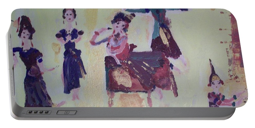 Dance Portable Battery Charger featuring the painting Thai Dance by Judith Desrosiers
