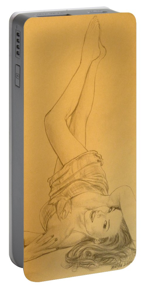 Singer Portable Battery Charger featuring the drawing Thalia Sodi by Bryan Bustard