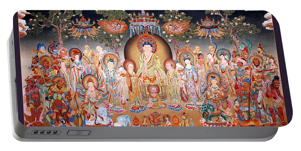 Thangka Portable Battery Charger featuring the painting Buddha Art Thangka by Ts