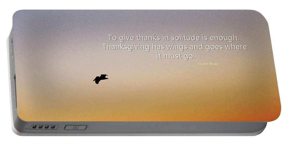 Thank You Portable Battery Charger featuring the painting Thanksgiving Solitude Prayer - Inspiration Art by Sharon Cummings