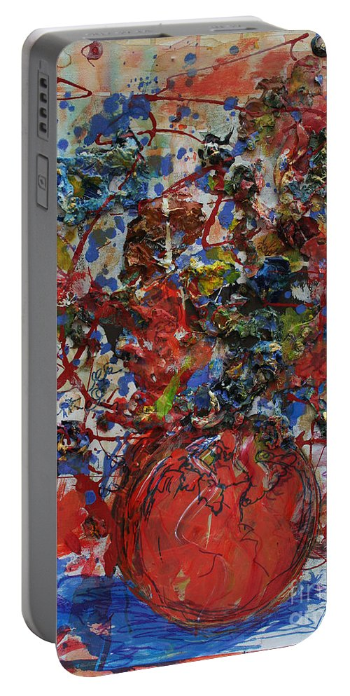 Abstract Flowers Portable Battery Charger featuring the painting The Acrylic Bouquet by Avonelle Kelsey