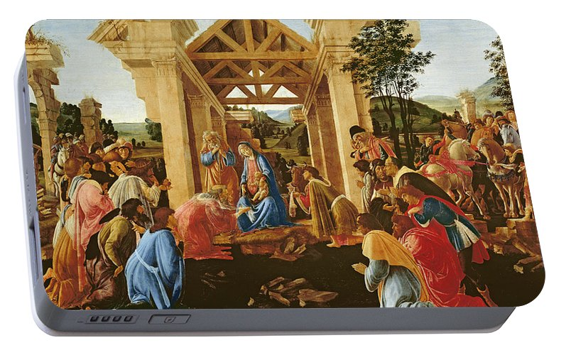 Nativity Portable Battery Charger featuring the painting The Adoration Of The Magi by Sandro Botticelli