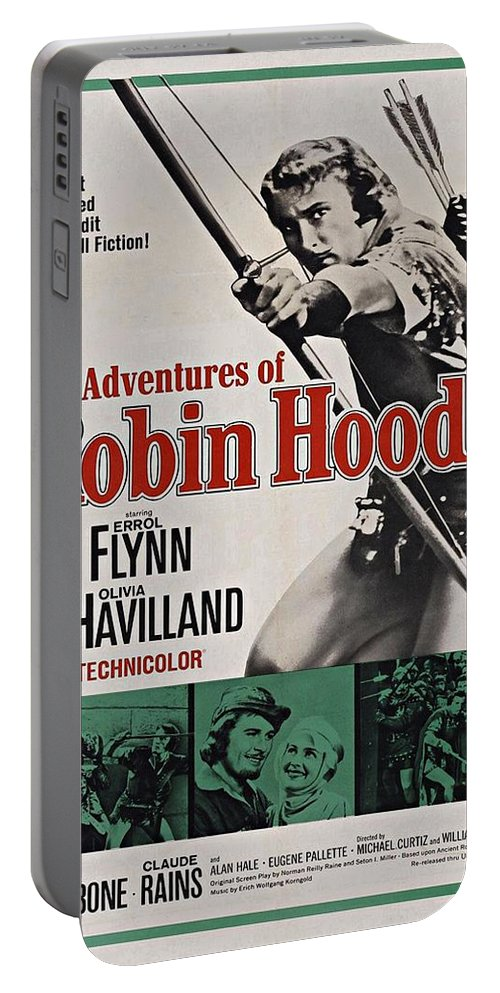 Errol Flynn Portable Battery Charger featuring the photograph The Adventures Of Robin Hood B by Movie Poster Prints