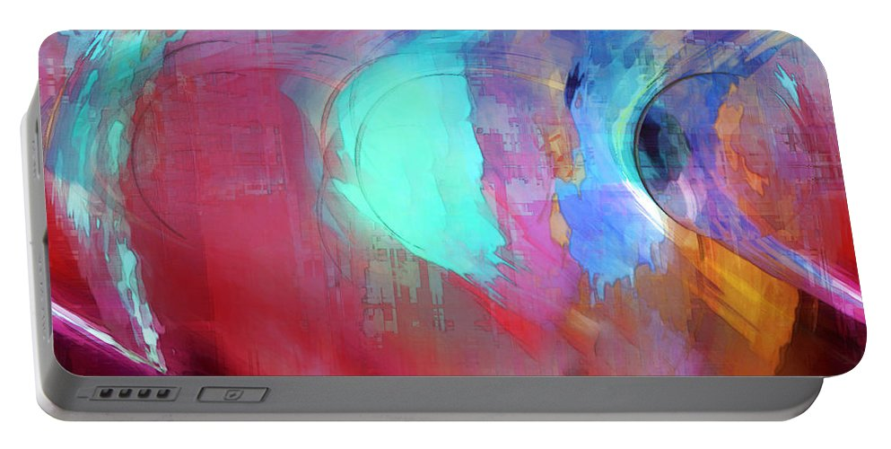 Abstract Portable Battery Charger featuring the digital art The Afterglow by Linda Sannuti