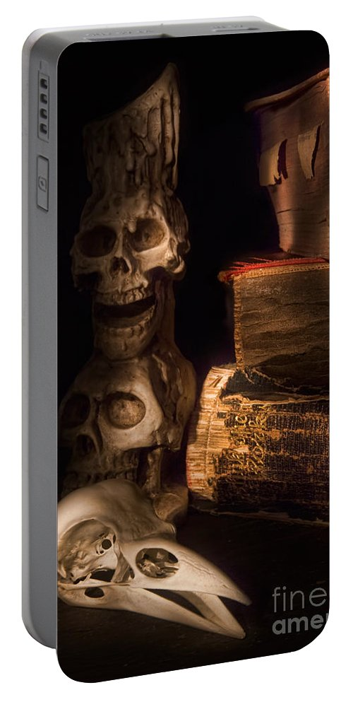 Old Books Portable Battery Charger featuring the photograph The Alchemist by Ann Garrett
