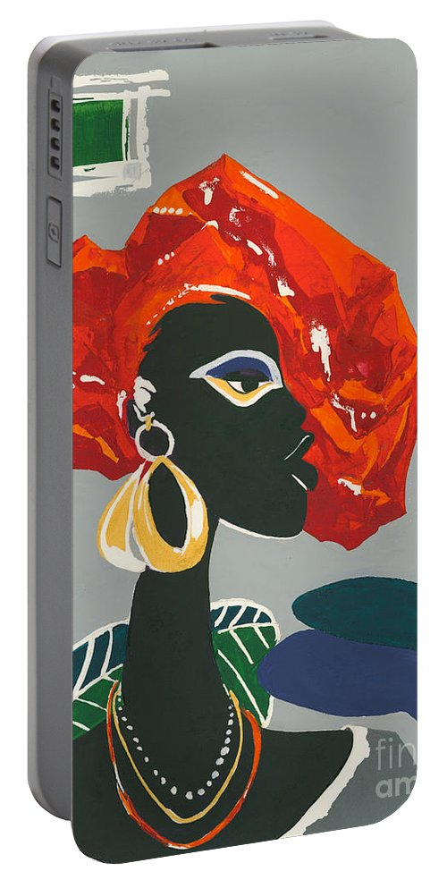 Black Portable Battery Charger featuring the painting The Ambassador by Elisabeta Hermann