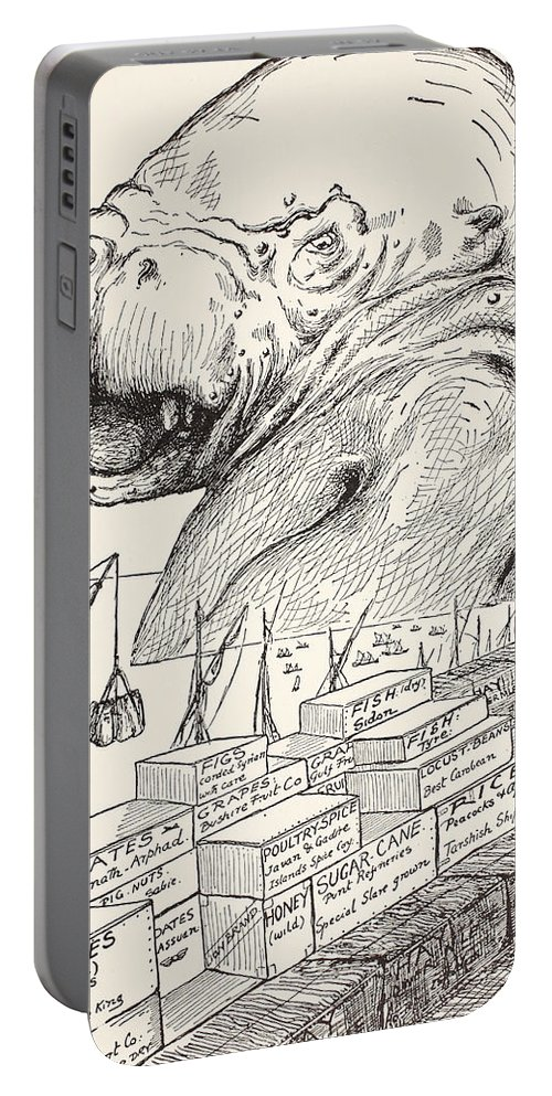 Small Porgies Portable Battery Charger featuring the drawing The Animal That Came Out Of The Sea And Ate Up All The Food That Suleiman-bin-daoud Had Made Ready F by Joseph Rudyard Kipling