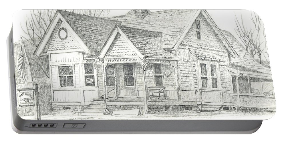 The Antique Shop Portable Battery Charger featuring the drawing The Antique Shop by Kip DeVore