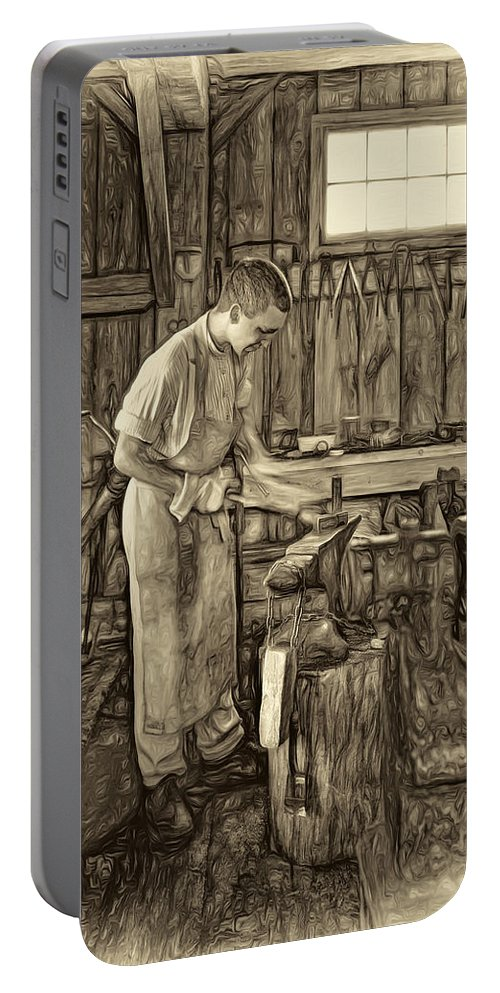 Blacksmith Portable Battery Charger featuring the photograph The Apprentice - Paint Sepia by Steve Harrington