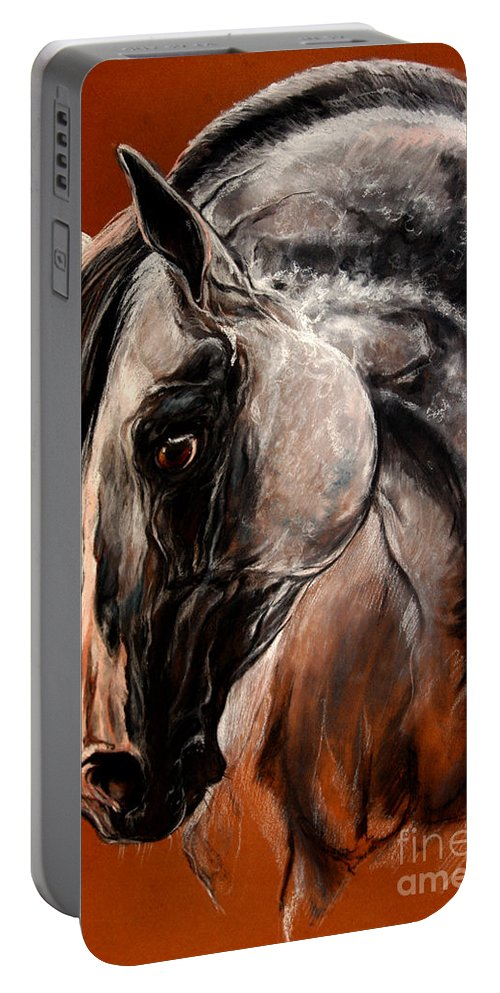 Horse Portable Battery Charger featuring the drawing The Arabian Horse by Angel Ciesniarska