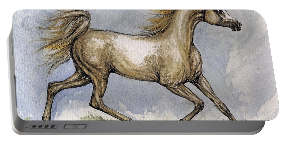 Mare Portable Battery Charger featuring the painting The Arabian Mare Running by Angel Ciesniarska